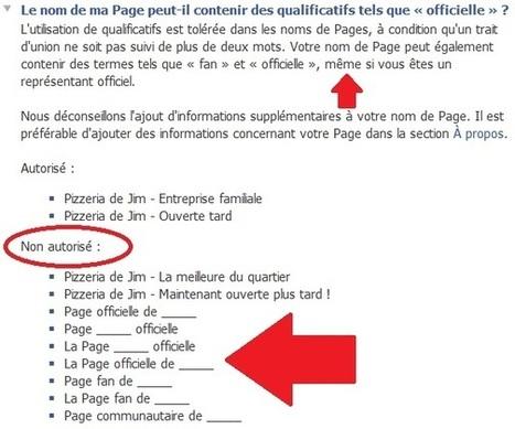 Facebook : le nom de votre page respecte-t-il les conditions d'utilisation ? | Facebook Pages | Scoop.it