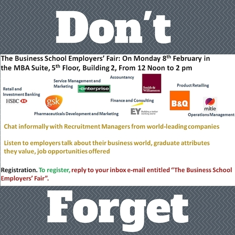 Don't forget the Business School Employers Fair on MONDAY | UoS Business School Undergraduate News | Scoop.it
