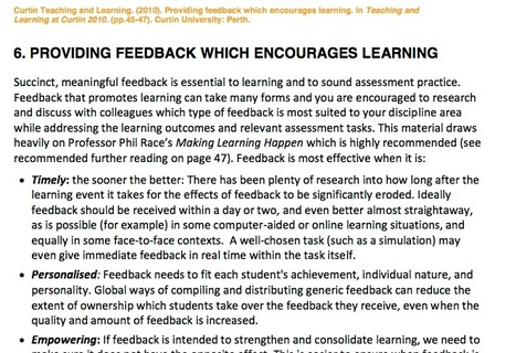 Providing formative feedback to encourage learning | University Learning and Teaching | eLearning news, tools, people and places | Scoop.it
