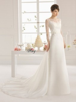 Cheap A-Line 3/4 Sleeves Court Train Wedding Dresses Sale at Amydress.co.uk | amydress | Scoop.it