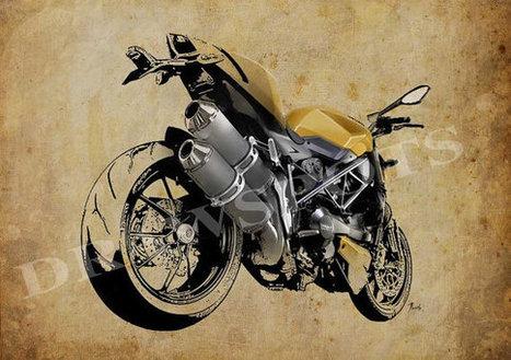 Ducati Streetfighter 848 2012, number 1 of 3, Art Print 11.5x16in, Motorcycle Art print, Bike drawing, poster based on an original art | Ducati Art | Scoop.it