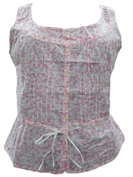 White Sleeveless Top Pink Printed Tiered Waist Cotton Blouse Small | Bohemian Fashion | Scoop.it