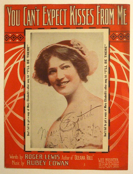 """Antique Victorian Sheet Music """"You Can't Expect Kisses From Me"""" 1911 Song Hit By Mary Elizabeth 