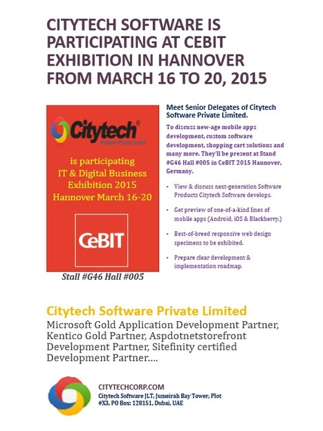 Citytech Software is participating at CeBIT 2015 Exhibit in Hannover from March 16 to 20 | software&technology | Scoop.it