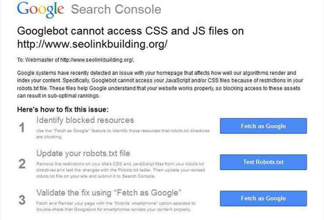 Googlebot Cannot Access CSS and JS Files [Fix] | My Collection | Scoop.it
