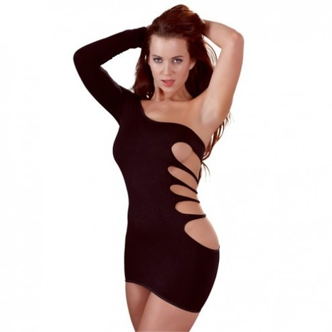Black Mini Cut Out Dress One Sleeve One Size | Sexy Clothes | Scoop.it