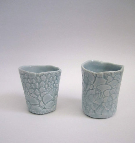 blue green porcelain cups and bowl, A set of three pieces of pottery | Good stuff to get | Scoop.it