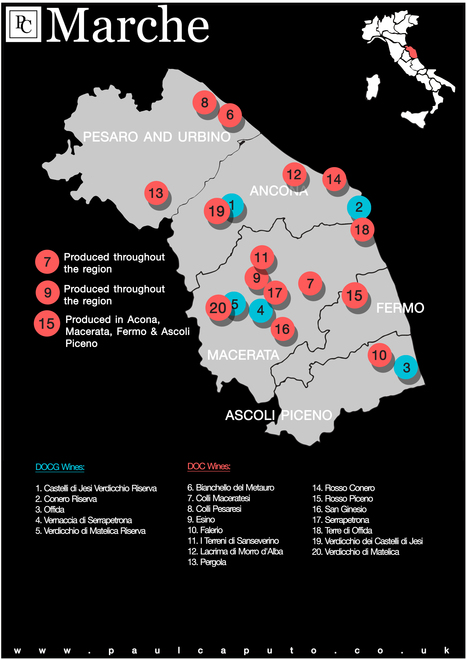 DOC and DOCG Wine Map of Le Marche | Wines and People | Scoop.it