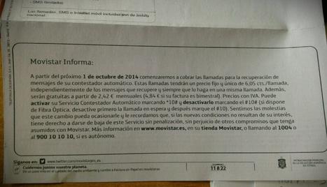 FACUA advierte de que el cobro del servicio contestador de Movistar da derecho a cancelar las permanencias | Actualidad España | Scoop.it