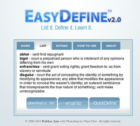 EasyDefine - Define multiple words quickly | LearningTeachingTeachingLearning | Scoop.it