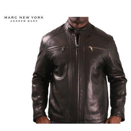 Marc New York by Andrew Marc Men's Boston Rugged Lambskin Leather Moto Jacket, Black, Medium | from my desk | Scoop.it