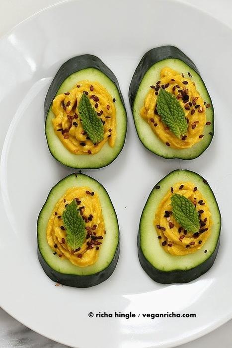 Cucumber Hummus Sesame Seed Mint Appetizer Bites. Vegan ... | Ernährung und Gesundheit | Scoop.it
