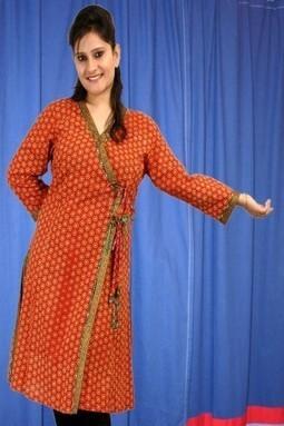 Red 3/4th Sleeve Cotton Printed Kurti M-132-RST - KURTIS | KURTIS | Scoop.it