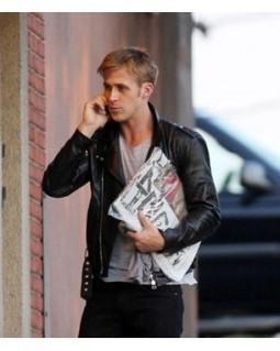 Men's Black Ryan Gosling Biker Leather Jacket | Ryan Gosling leather jackets | Scoop.it