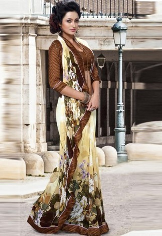 Cream Georgette Saree with Blouse | Online Sarees shopping Store in India | Scoop.it