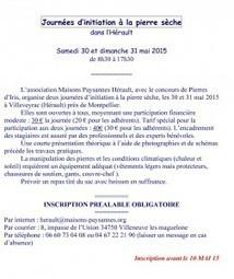 Journées Initiation Pierre Sèche - Villeveyrac (Herault) - 30 et 31 MAI 2015 | pierresèche | Scoop.it