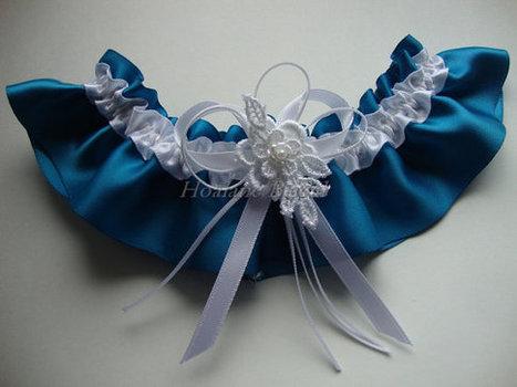 Garter, Turquoise satin ribbon garter, Wedding garter | Wedding Garters | Scoop.it