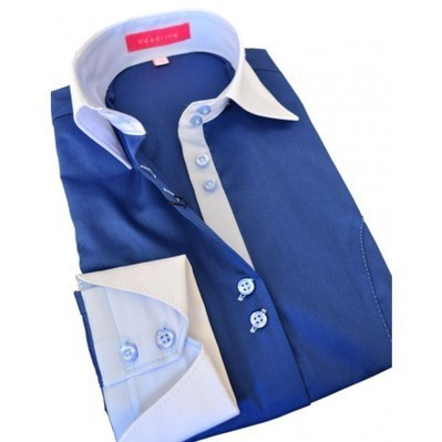 Women's Slim navy blue shirt, light blue buttons, light blue inside collar, white collar and sleeves Australia | Style Up This Easter | Scoop.it