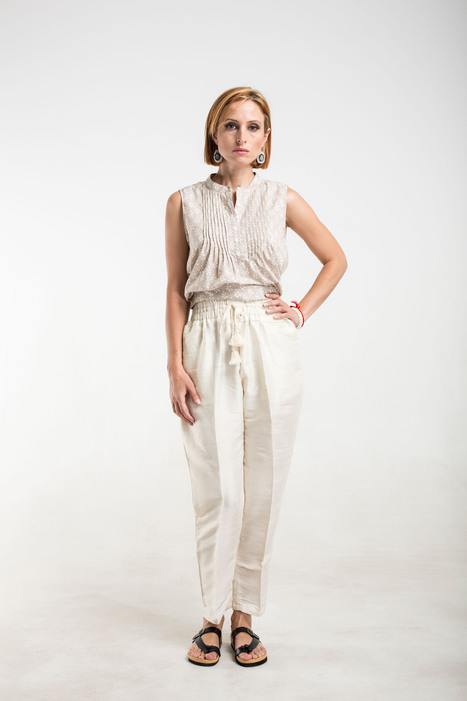 cream silk pants with pockets, gathered waist and tassels | 2014 Collection | Scoop.it