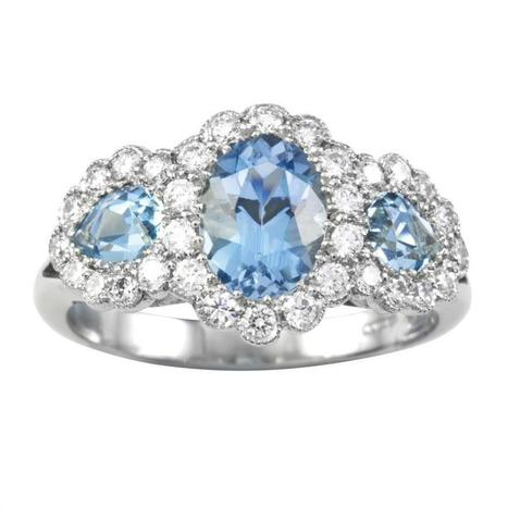 An aquamarine and diamond triple cluster ring - Bentley & Skinner | Bentley And Skinner | Scoop.it