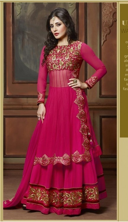 Rimi Sen ! Deep Pink Color Georgette Straight Cut Style Stitched Churidar Kameez | fashionheena.com | Scoop.it