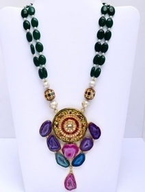 A Very Beautiful And Attractive Necklace Set With Beautiful Hand Made Tanjore And Radha Krishna Painting On Semi Precious Stones With Metal Colet And Beautiful Strings Of Multi shaded Semi Precious... | Radha Krishna | Scoop.it