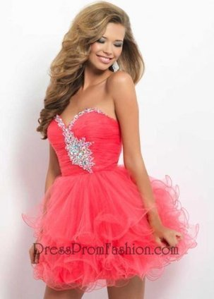 Coral Strapless Sequined Top Ruffled Prom Dress [Coral Ruffled Prom Dress] - $158.00 : Fashion Cheap Prom Dresses, Formal, Homecoming Dresses - DressPromFashion | homecoming dresses 2013 | Scoop.it