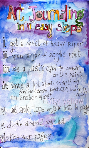 Art journaling in 6 Easy Steps - daisy yellow - create explore paint | Journal For You! | Scoop.it