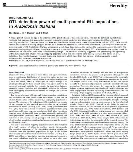 QTL detection power of multi-parental RIL populations in Arabidopsis thaliana | Plant multi-parent advanced generation intercross (MAGIC) populations | Scoop.it