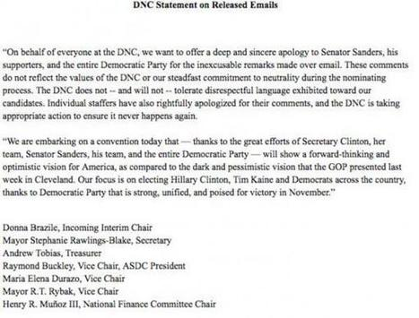 "We're Sorry! - DNC Apologizes To Bernie For ""Inexcusable Remarks"" 