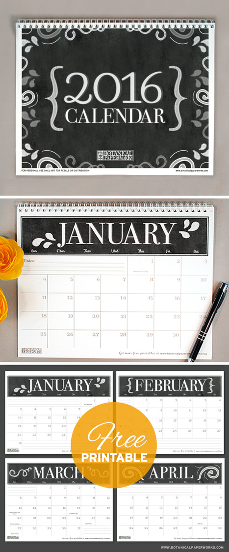 {free printables} Three Stylish 2016 Calendars | #communicando | Scoop.it