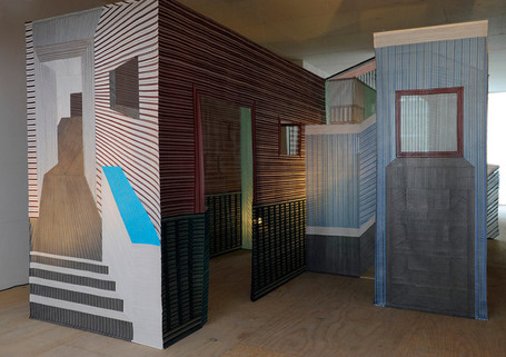 "woven walls installation by wies preijde | ""Life Without Art Is Stupid"" 
