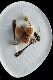 Noix de Saint-Jacques grillées à l'unilatéral, coulis à la truffe noire, cubes de potimarron rôtis, huile de noisette   Epicure : Vins, gastronomie et belles choses   Scoop.it