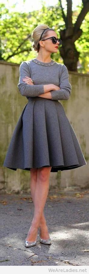 Wonderful grey dress look   Pintast   Scoop.it