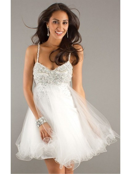 White Ball Gown Short Spaghetti Straps Dress | Wedding Dresses | Scoop.it