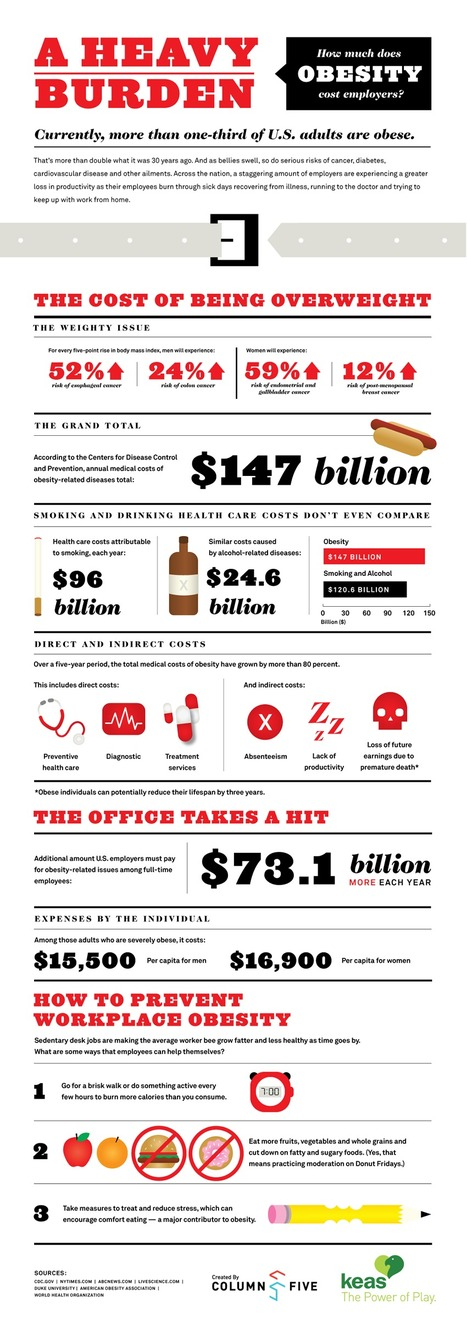 How Much Does Obesity Cost Employers? #Infographic | CareerOz | Scoop.it