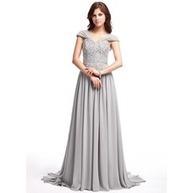 [NOK 1029] A-formet/Prinsesse V-hals Feie Train Chiffong Ballkjole med Frynse Blonder Perlebesydd Paljetter (018025308) | fashion dress | Scoop.it