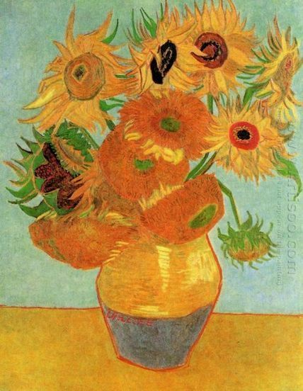 Oil painting reproduction: Vincent Van Gogh Still Life Vase With Twelve Sunflowers 1 - Artisoo.com | Olieverfschilderijen | Scoop.it