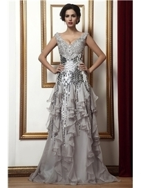 $ 200.99 Attractive Beading/Sequins Tiered Sheath/Column V-Neck Floor-Length Taline's Mother of the Bride Dress | Fashion ladies | Scoop.it