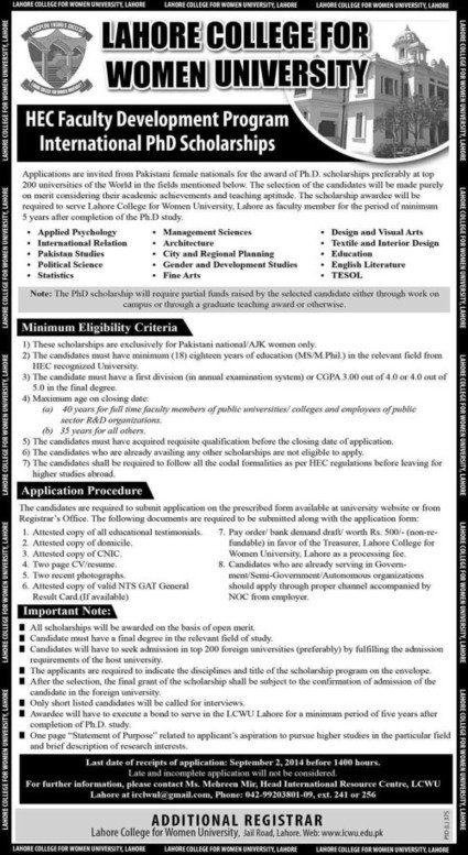 PhD Scholarships For Pakistani Females Lahore College For Women University | LearningAll | www.learningall.com | Scoop.it
