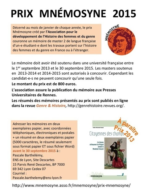 Prix Mnémosyne | Association pour le développement de l'histoire des #femmes et du #genre | CULTURE, HUMANITÉS ET INNOVATION | Scoop.it