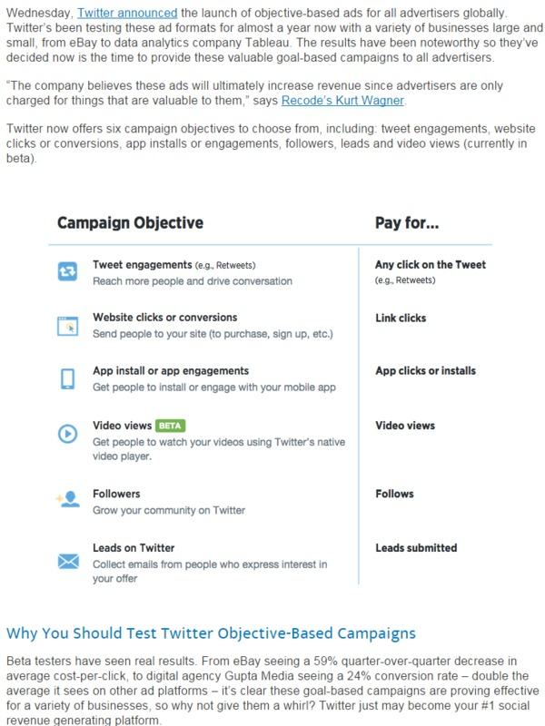 Twitter's Objective-Based Ads: Some New Treats for Marketers | Wordstream | The Marketing Technology Alert | Scoop.it