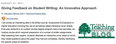 Giving Feedback on Student Writing: An Innovative Approach - Faculty Focus   Faculty Focus   Resources for Teaching L2 Writing   Scoop.it