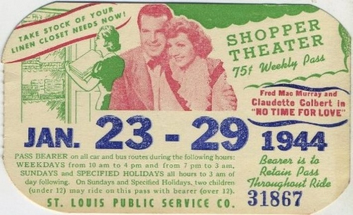 1940s Movie Bus Pass - CLAUDETTE COLBERT Fred MacMurray | Antiques & Vintage Collectibles | Scoop.it