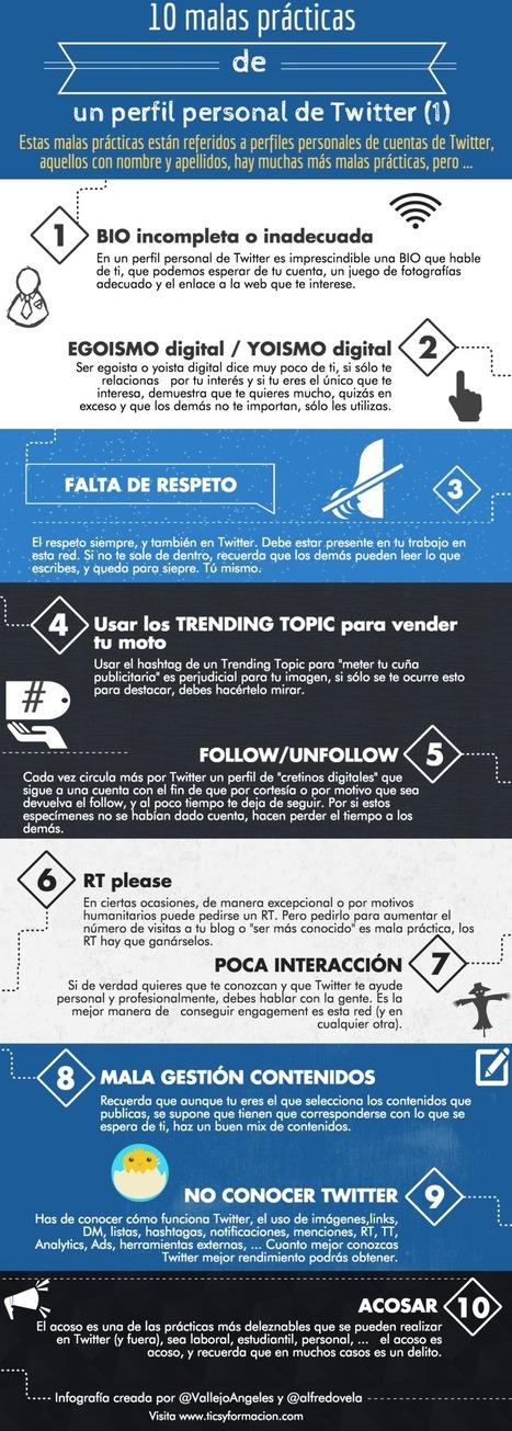 10 malas prácticas de un perfil personal de Twitter (I) #infografia #socialmedia   MediosSociales   Scoop.it