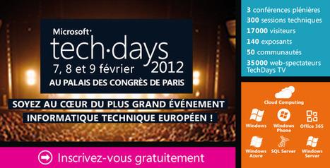 Microsoft TechDays 2012, soyez au cœur du plus grand événement informatique européen ! | LdS Innovation | Scoop.it