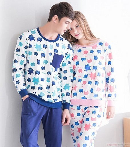 cat face couple pajamas | my like | Scoop.it