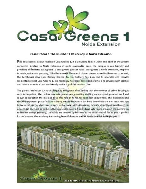 Casa Greens 1 The Number 1 Residency in Noida Extension - PDF | Property in Noida | Scoop.it