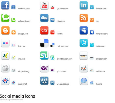 Great White Ark: 21 Free Social Media Icons | Informed Teacher Librarianship | Scoop.it