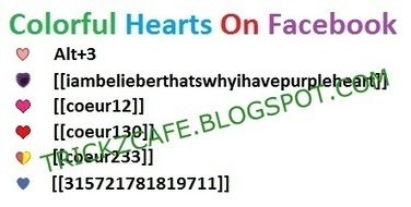 How To Make Colored Heart Symbols On Facebook | Trickz Cafe | TrickzCafe | Scoop.it